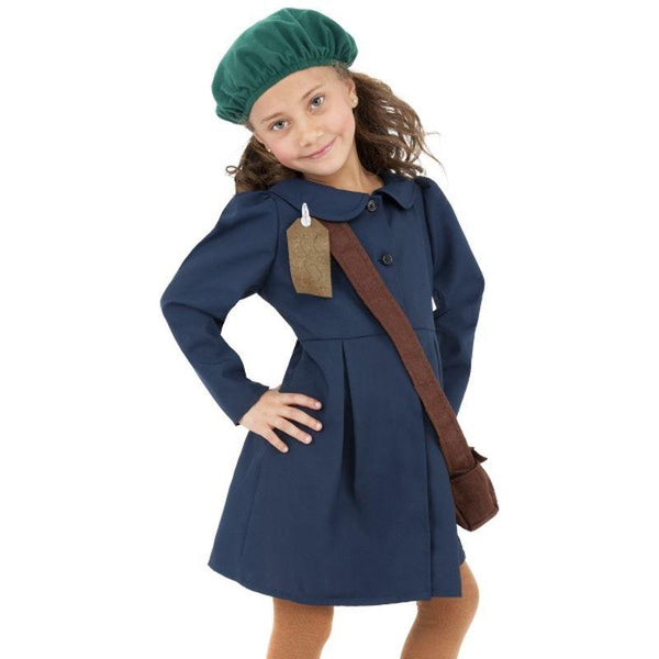 World War II Evacuee Girl Costume - Small Age 4-6 Girls Blue/Green