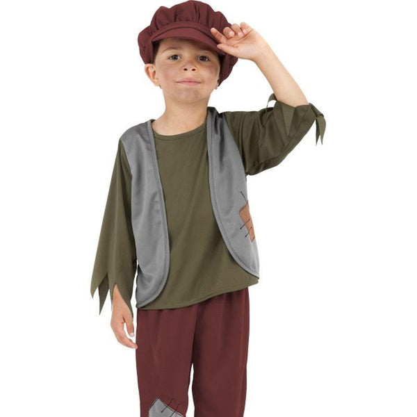Victorian Poor Boy Costume - Small Age 4-6 Boys Green/Red