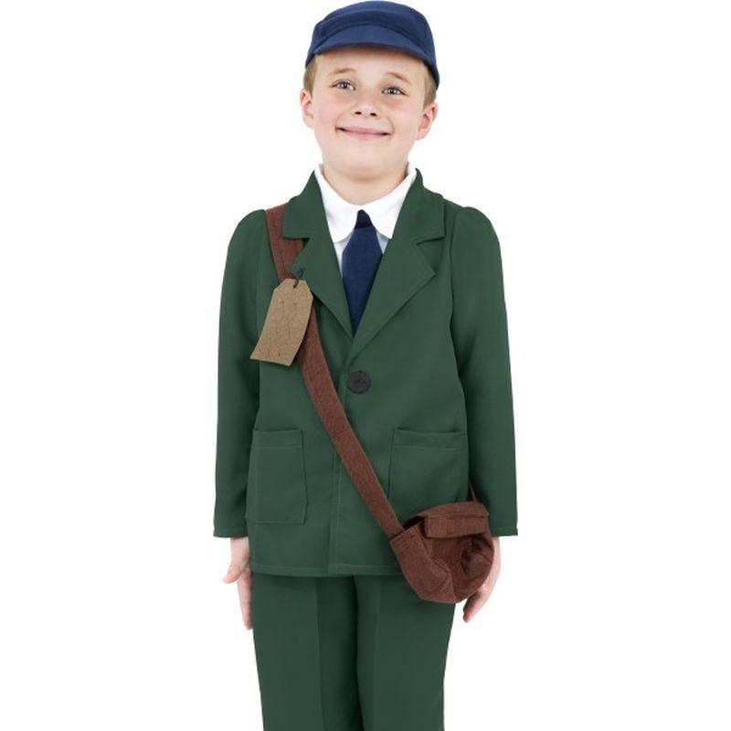 World War II Evacuee Boy Costume - Medium Age 7-9 Boys Green