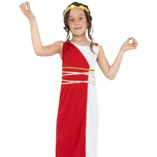 Grecian Girl Costume - Medium Age 7-9 Girls Red/White