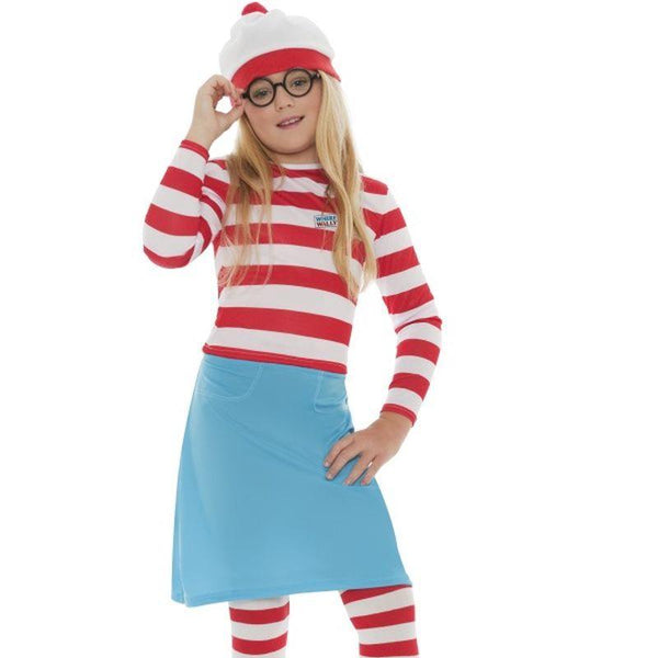 Wheres Wally? Wenda Child Costume - Small Age 4-6 Girls Red/White/Blue