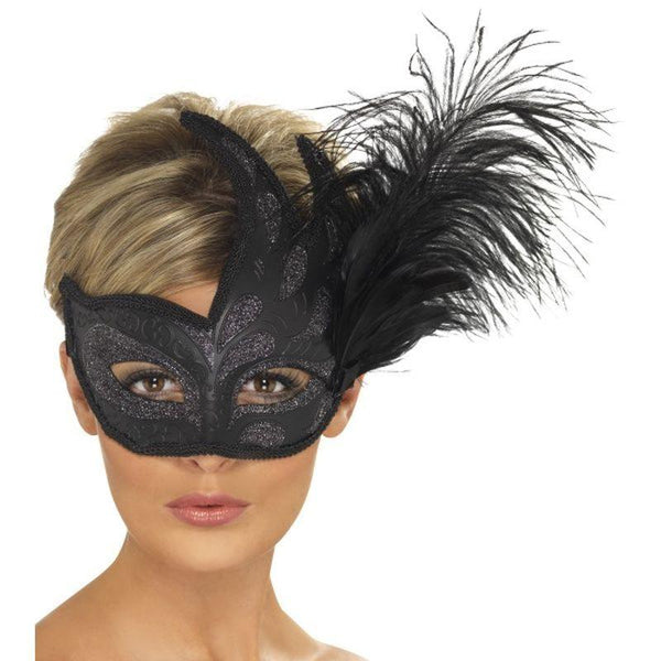 Ornate Colombina Feather Mask - One Size