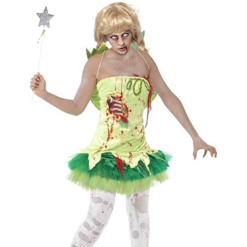 Zombie Fairy Costume - UK Dress 12-14 Womens Green/Red