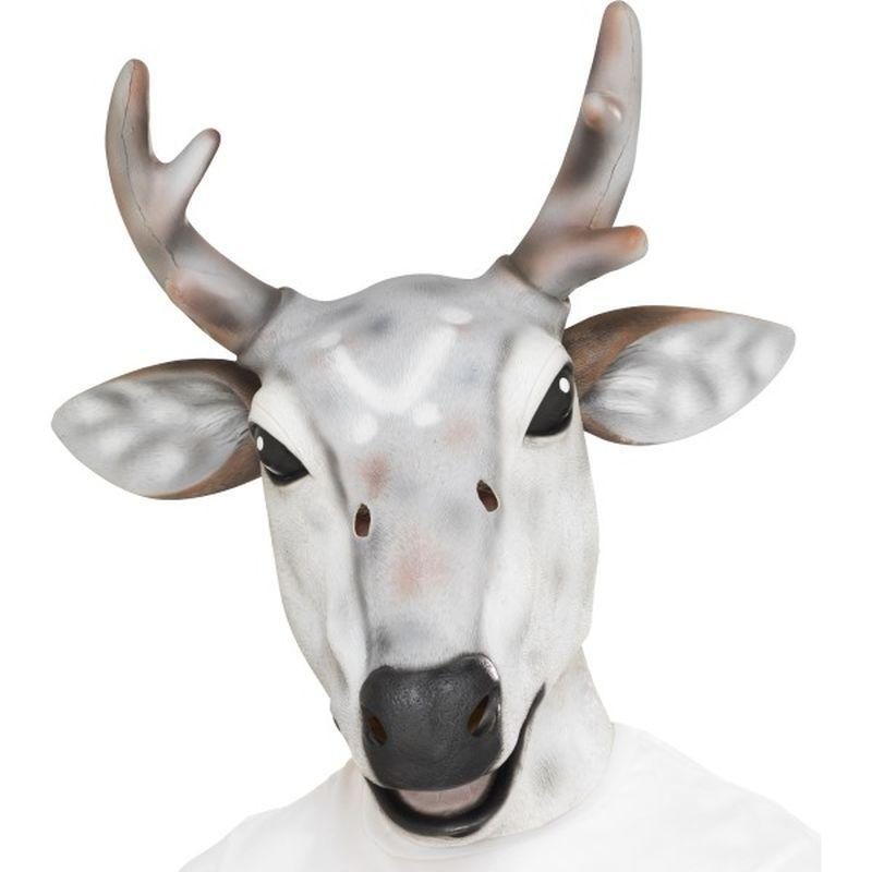 Reindeer/Stag Latex Mask - One Size Mens White