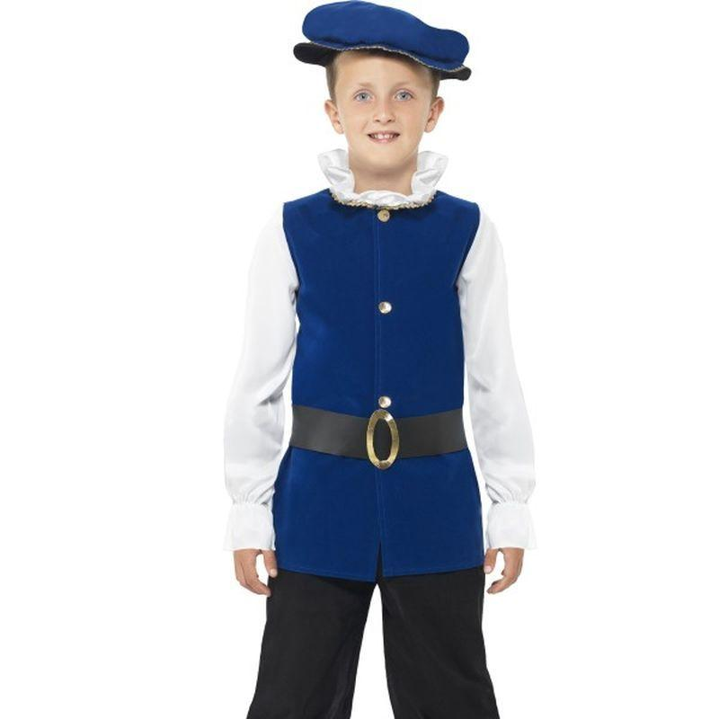 Tudor Boy Costume - Small Age 4-6 Boys Royal Blue