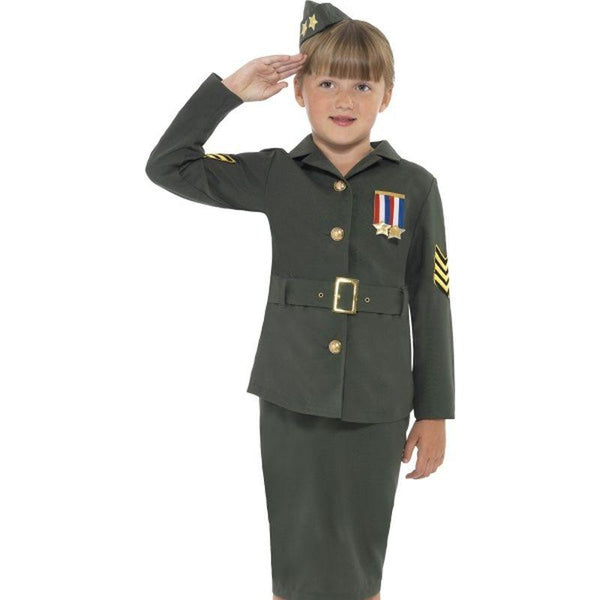 WW2 Army Girl Costume - Medium Age 7-9 Girls Khaki Green
