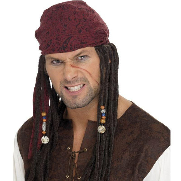 Pirate Wig & Scarf - One Size Mens Brown