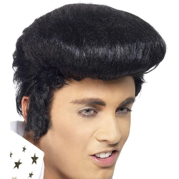 Elvis Deluxe Wig - One Size Mens Black