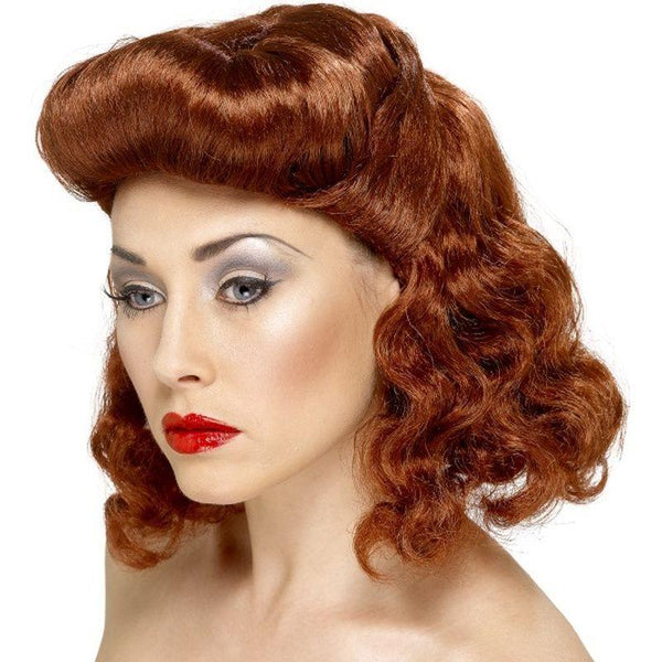 Pin Up Girl Wig - One Size Womens Auburn