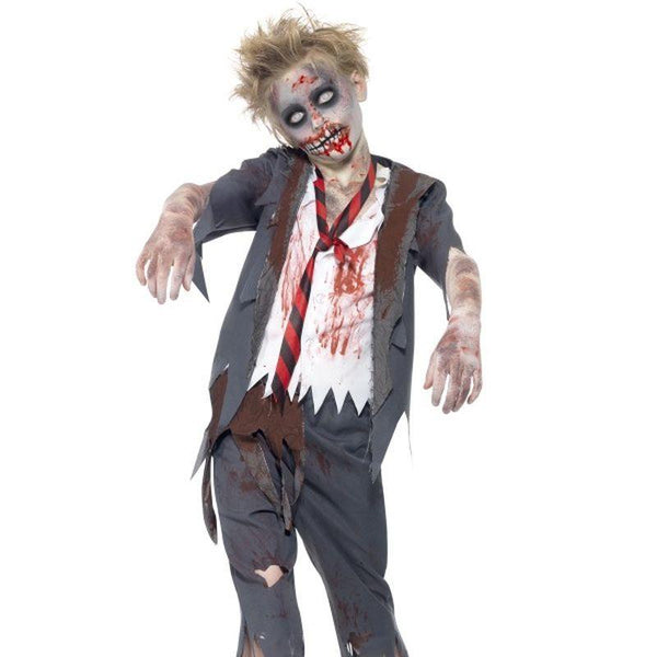 Zombie School Boy Costume - Teen 13+ Boys Grey/White/Red