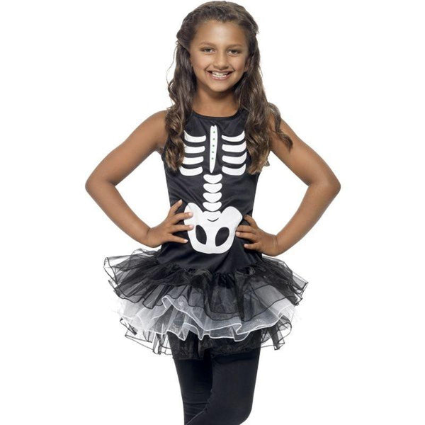 Skeleton Tutu Costume - Small Age 4-6 Girls Black/Whte