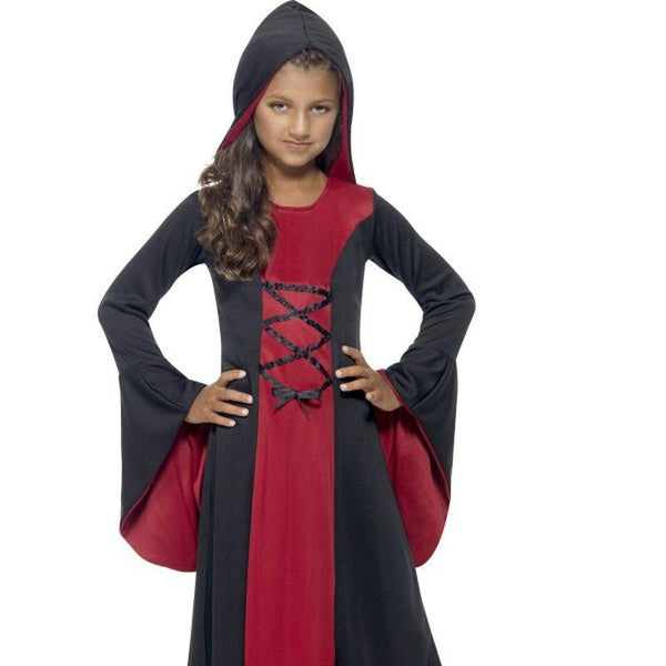 Hooded Vamp Robe Costume - Small Age 4-6 Girls Red/Black