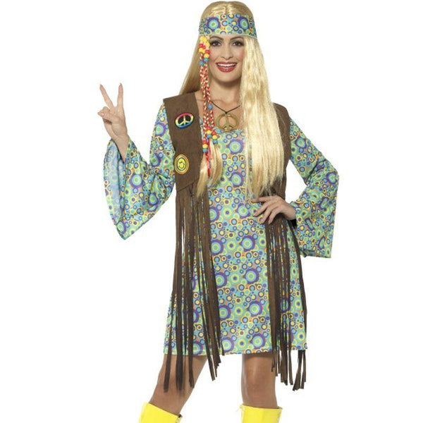 60's Hippie Chick Costume, with Dress - UK Dress 8-10