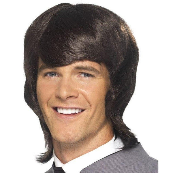 60s Male Mod Wig - One Size Mens Brown