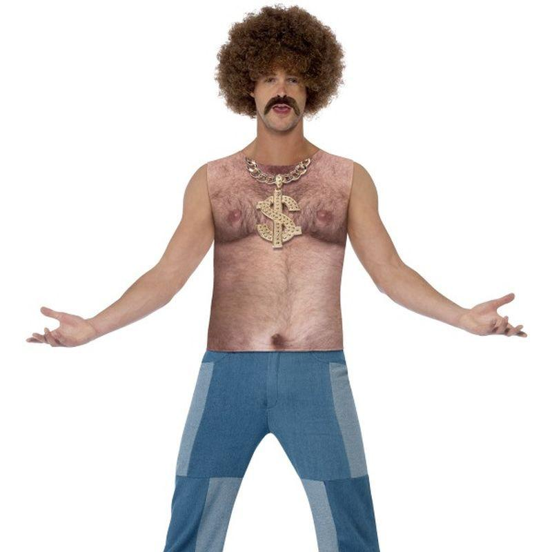 "Realistic 70 's Hairy Chest, Sleeveless Top - Chest 42""-44"", Leg Inseam 33"""