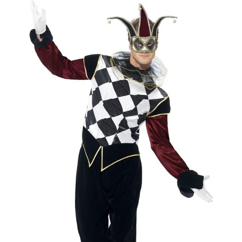 "Gothic Venetian Harlequin Male Costume - Chest 42""-44"", Leg Inseam 33"""