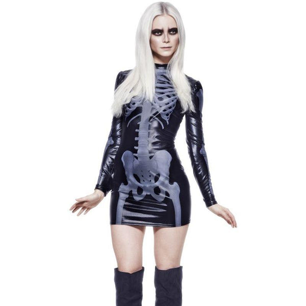 Fever Miss Whiplash Skeleton Costume - UK Dress 8-10 Womens Black