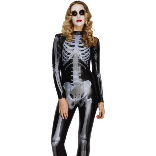 Fever Skeleton Costume - UK Dress 8-10 Womens Black