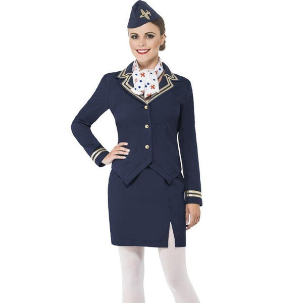 Airways Attendant Costume - UK Dress 8-10 Womens Blue