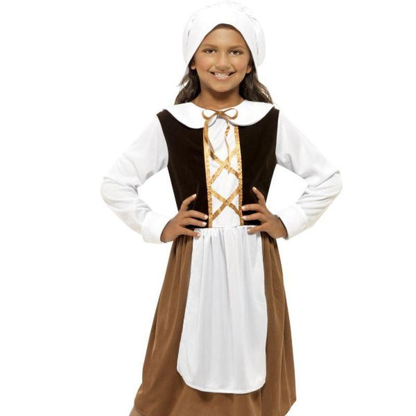 Tudor Girl Costume - Medium Age 7-9 Girls Brown