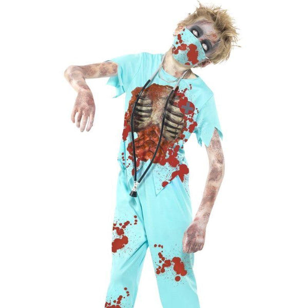 Zombie Surgeon Costume - Medium Age 7-9 Girls Blue
