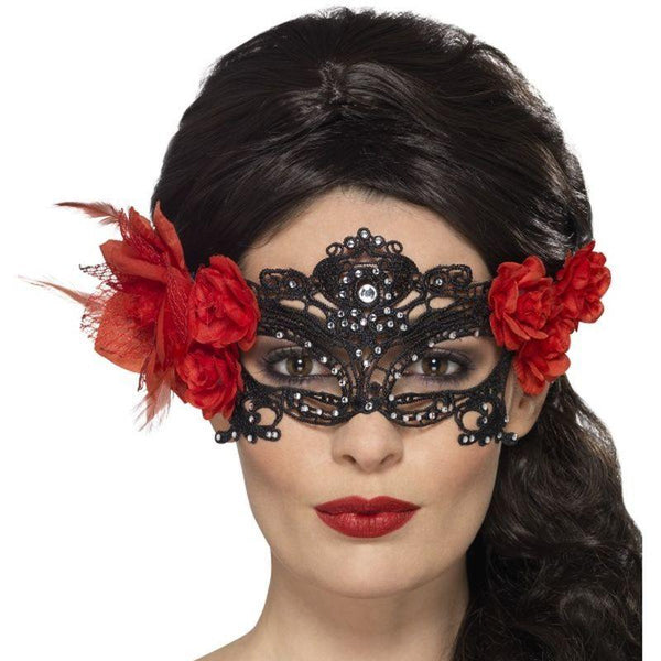 Day of the Dead Lace Filigree Eyemask - One Size