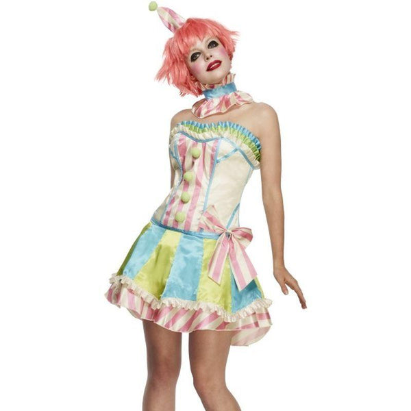 Fever Boutique Vintage Clown Costume - UK Dress 12-14 Womens White/Blue/Green