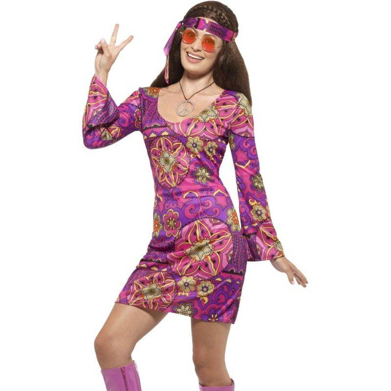 Woodstock Hippie Chick Costume - UK Dress 8-10