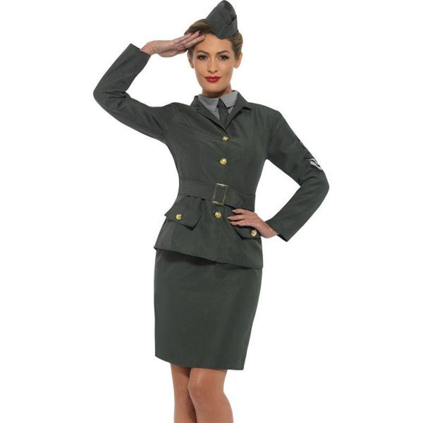 WW2 Army Girl Costume Adult Green