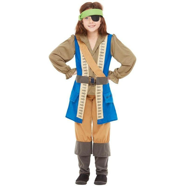 Horrible Histories Pirate Captain Costume Child Blue