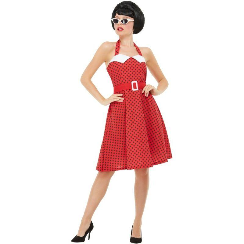 50s Rockabilly Pin Up Costume Adult Red