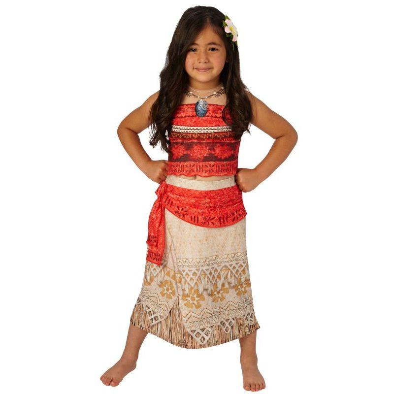 Girls Official Disney Deluxe Moana Hawaiian Polynesian Film Book Day Week Fancy Dress Costume Outfit