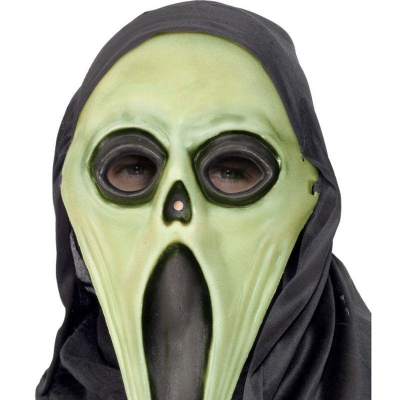 Glow in the Dark Screamer Mask, Black and White - One Size Mens White/Glow In The Dark
