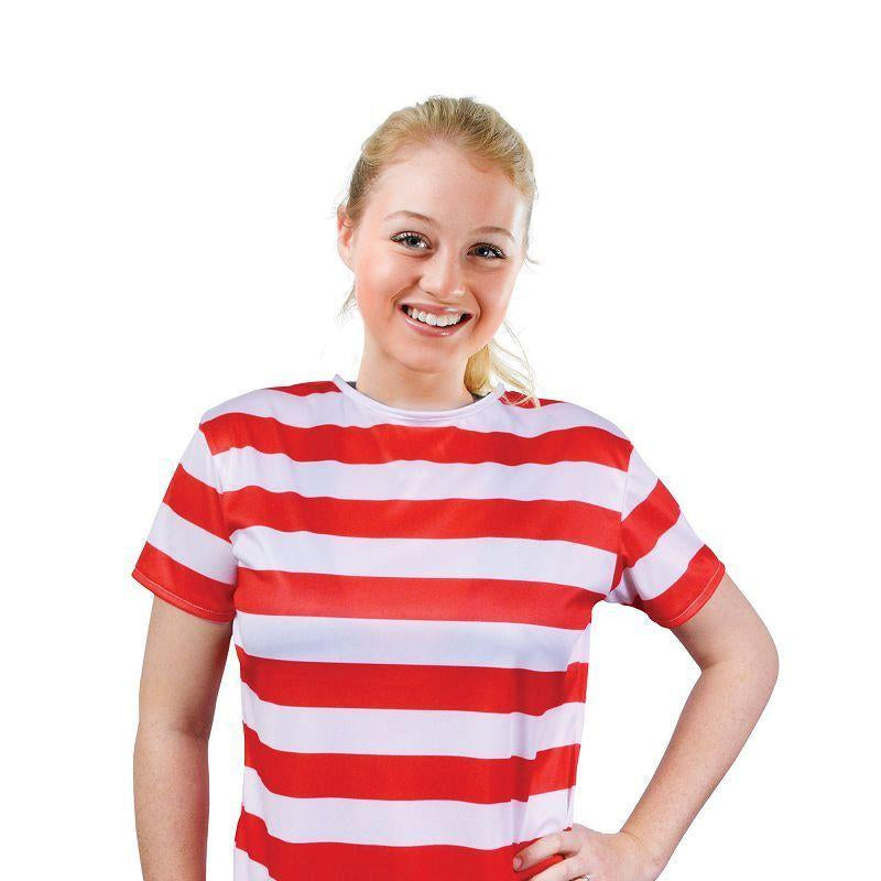 Womens Striped Ladies Shirt. Red/White. Adult Costumes - Female - One Size. Halloween Costume