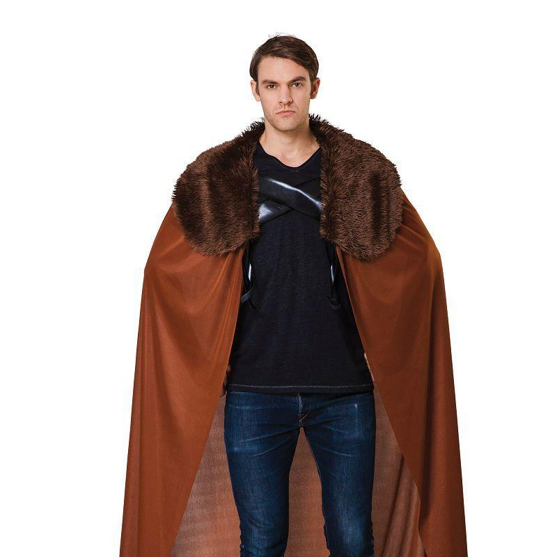 Cape Mens Brown with Fur Collar (Adult Costumes) - Male - One size fits most