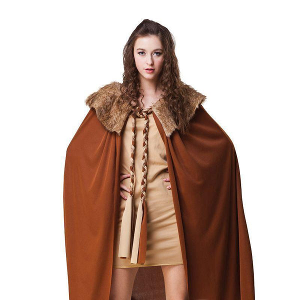 Cape Ladies Short Deluxe Brown with Plush Collar (Adult Costumes) - Female - One size fits most