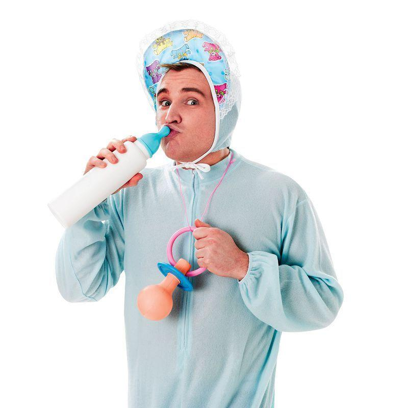 Mens Baby Sleepsuit Blue Adult Costume - Male - One Size Halloween Costume