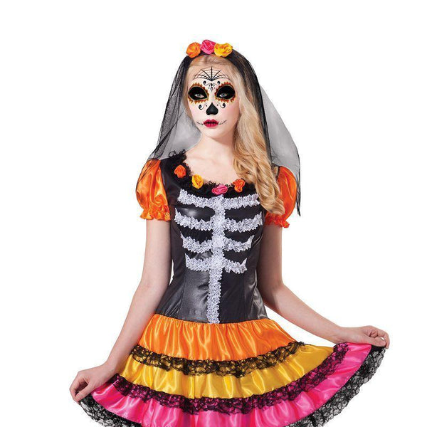 Day of the Dead Lady Rainbow (Adult Costumes) - Female - UK Size 10-14