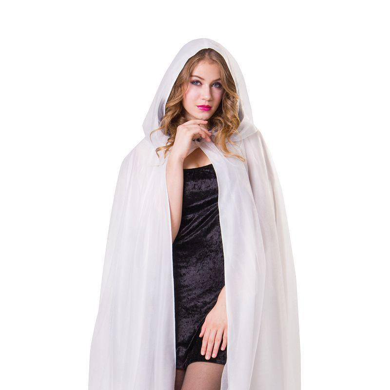 Hooded Cape White Ladies with Black Obmbre Finish (Adult Costumes) - Female - One size fits most