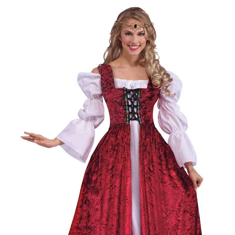 Womens Medieval Lace Up Gown Adult Costumes - Female - One Size Halloween Costume