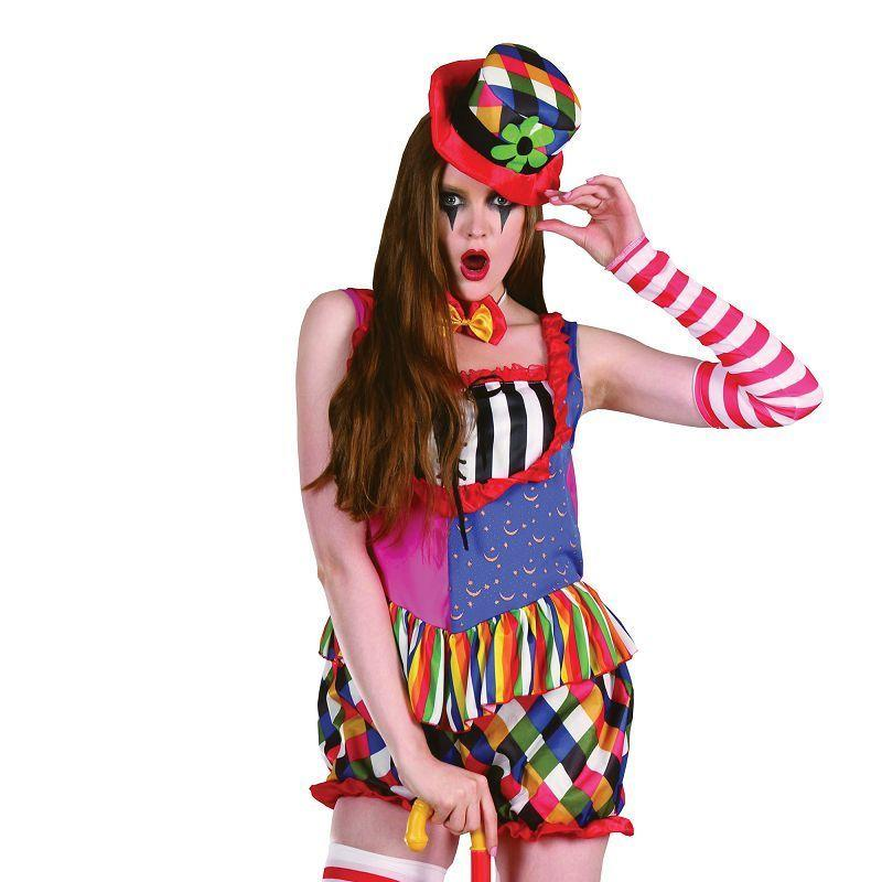 Womens Rainbow Clown Femail Adult Costumes - Female - One Size Halloween Costume