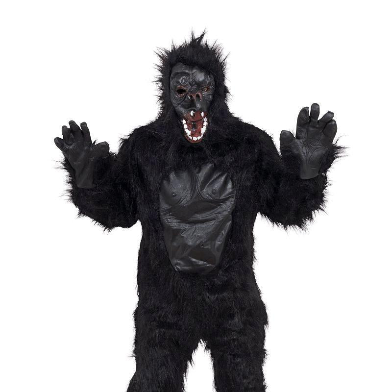 Gorilla Costume & Rubber Chest Adult Costume - Unisex - One Size
