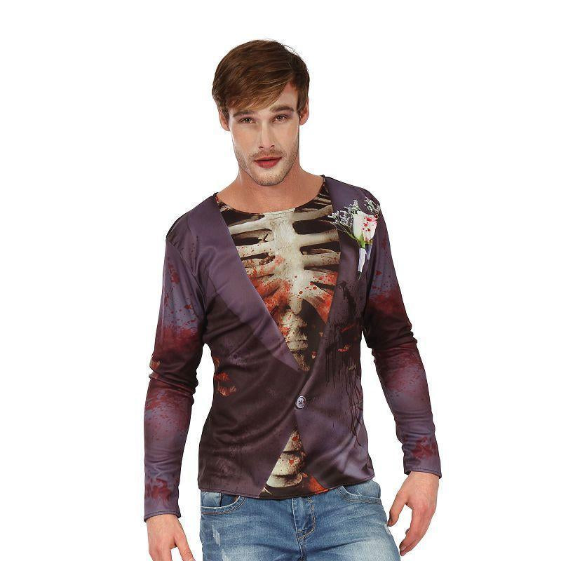 Zombie Bridegroom 3D Print Shirt (Adult Costumes) - Male - Chest size 44""