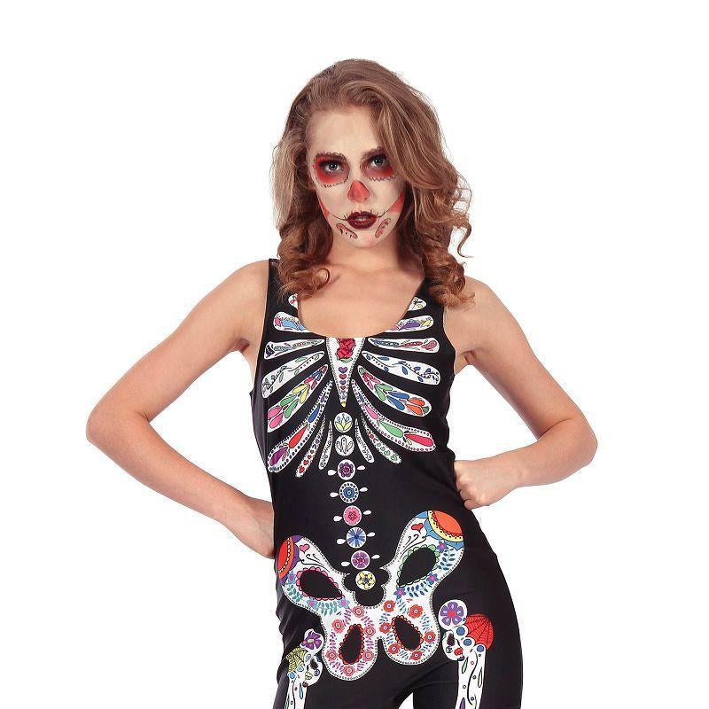 Day of the Dead Jumpsuit (Adult Costumes) - Female - UK Size 10-14