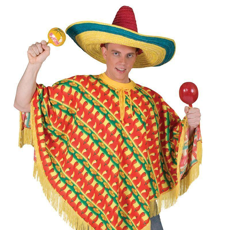 Mens Poncho. Chilli Print (Ff) Adult Costume - Male - One Size Halloween Costume