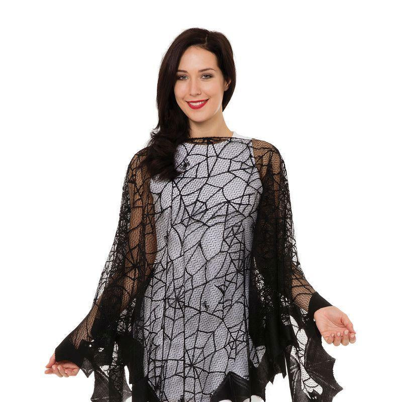 Spiderweb + Bat Fishnet Cape (Adult Costumes) - Female - One Size Fits Most
