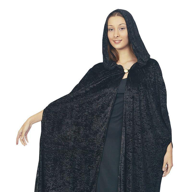 Womens Gothic Hooded Velvet Cloak.black Adult Costume - Female - One Size Halloween Costume