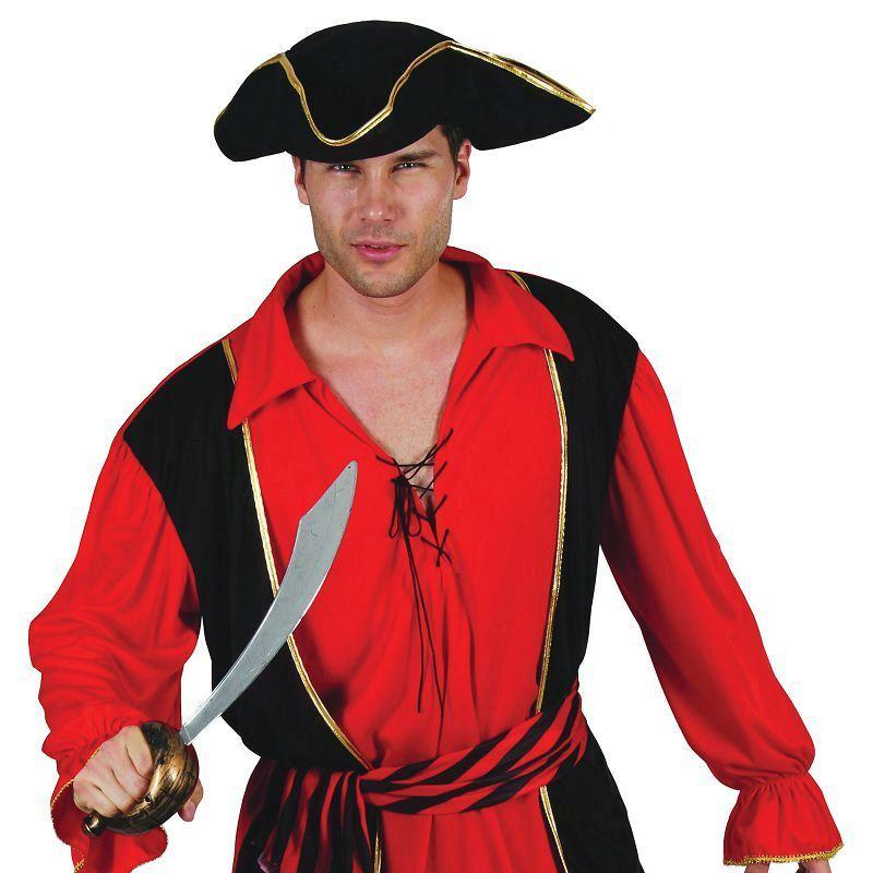 Mens Pirate Captain (Waistcoat & Shirt / Hat). Adult Costumes - Male - One Size. Halloween Costume