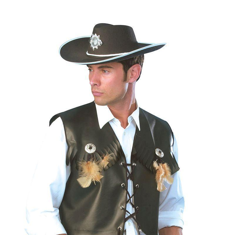 "Mens Cowboy Waistcoat Black Ff 52/54 Adult Costume - Male - UK Chest Size 42""-44""/ Waist Size 34""-36"" Halloween Costume"