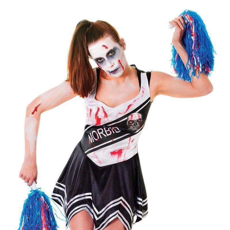 Womens Zombie Cheerleader. Black. Adult Costume- Female - One Size Halloween Costume